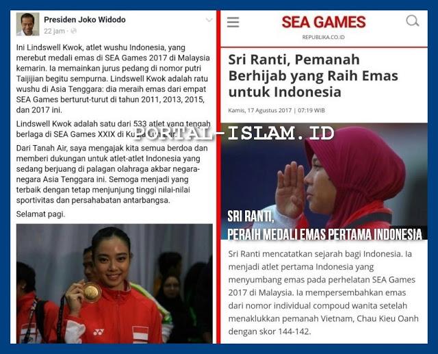 Untuk Lindswell Kwok, Jokowi Blow Up di Fb-nya, Untuk Muslimah Berjilbab Peraih Medali Emas Pertama Kok Tidak