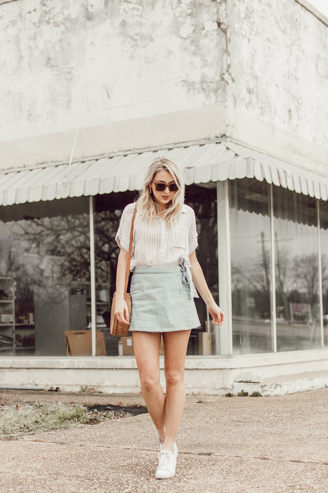 Spring outfit with a denim mini skirt