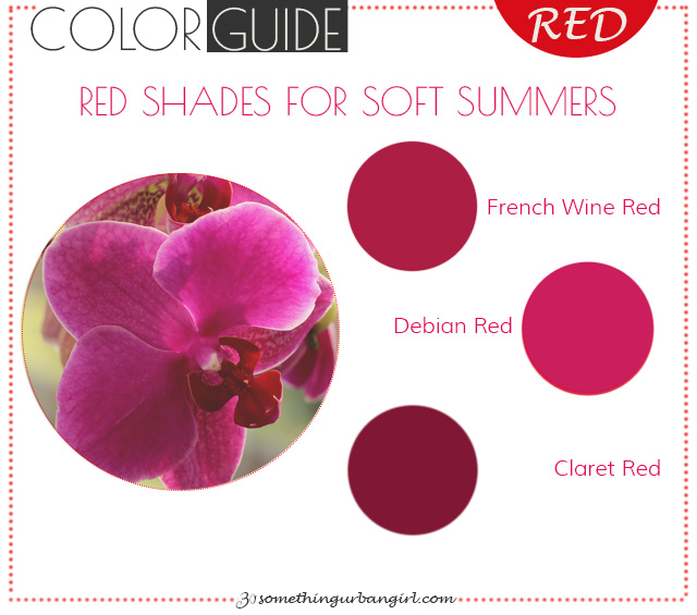 The best red color shades for Soft Summer seasonal color women