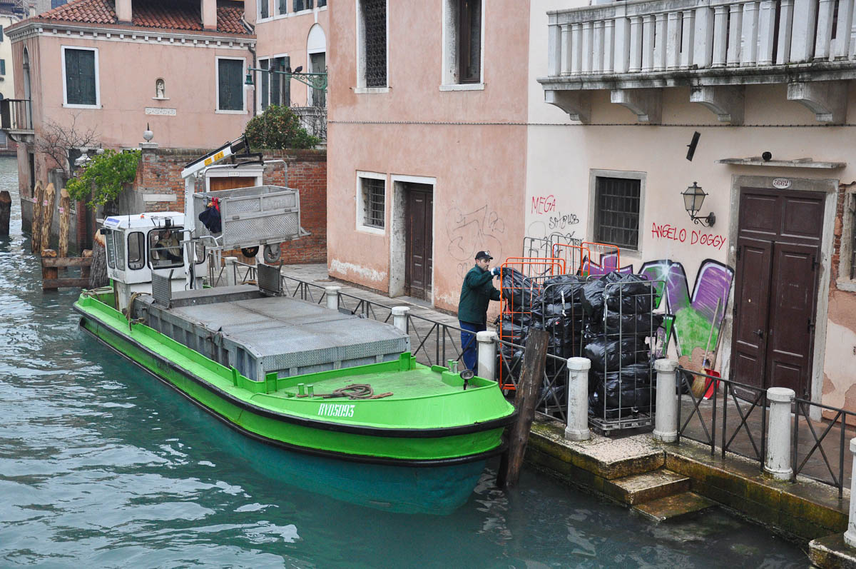 Rubbish removal boat, Venice, Italy