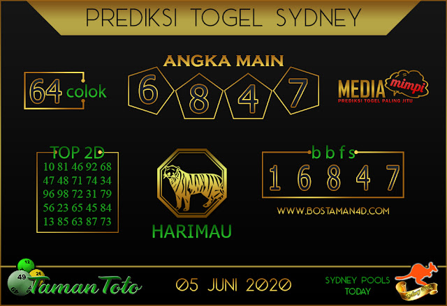 Prediksi Togel SYDNEY TAMAN TOTO 05 JUNI 2020