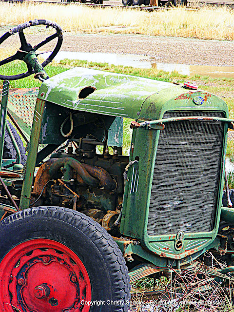 Vintage tractor photograph, art reference, repurposed automobile parts