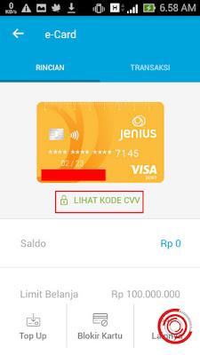 Kemudian pilih Lihat Kode CVV untuk melihat no kartu e-card Jenius BTPN dan kode cvv serta masa berlaku e-card Jenius kalian itu
