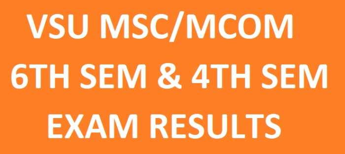 VSU MSc/MCom 4th & 6th Sem Results April 2018