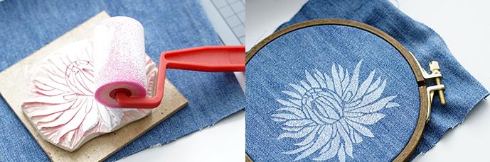 Stempel mit Farbe anrollen und auf Jeansstoff drucken