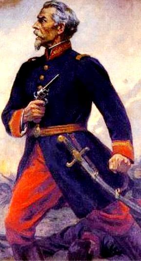 Dibujo de Francisco Bolognesi posando de perfil