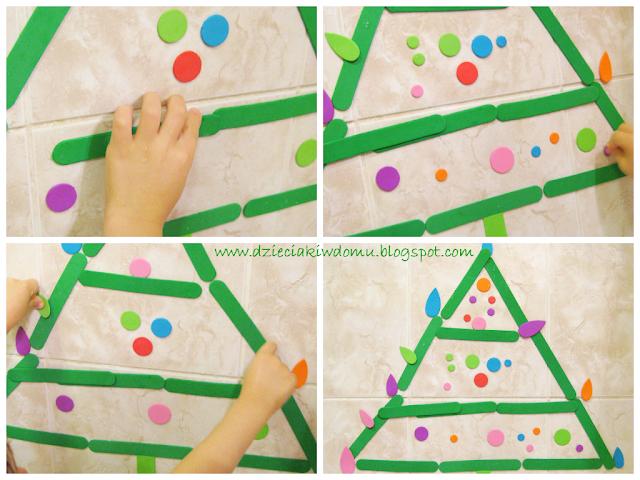choinka z piankowych figur geometrycznych i kształtów, zabawa w wannie