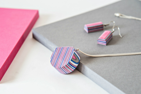Pink, blue, white and gray layered paper pendant necklace with silver chain