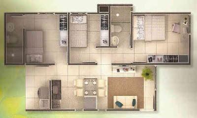 ÁREA CONSTRUÍDA: => 66,89 m².    CÔMODOS:  Sala de estar, Cozinha americana, Área de serviço, Banheiro social, total de três quartos, 01 (uma) Suíte, 2 quartos sociais, Garagem descoberta, Garagem coberta, Vagas para estacionamento até 02 (duas), ótima opção para você e sua família viverem bem.