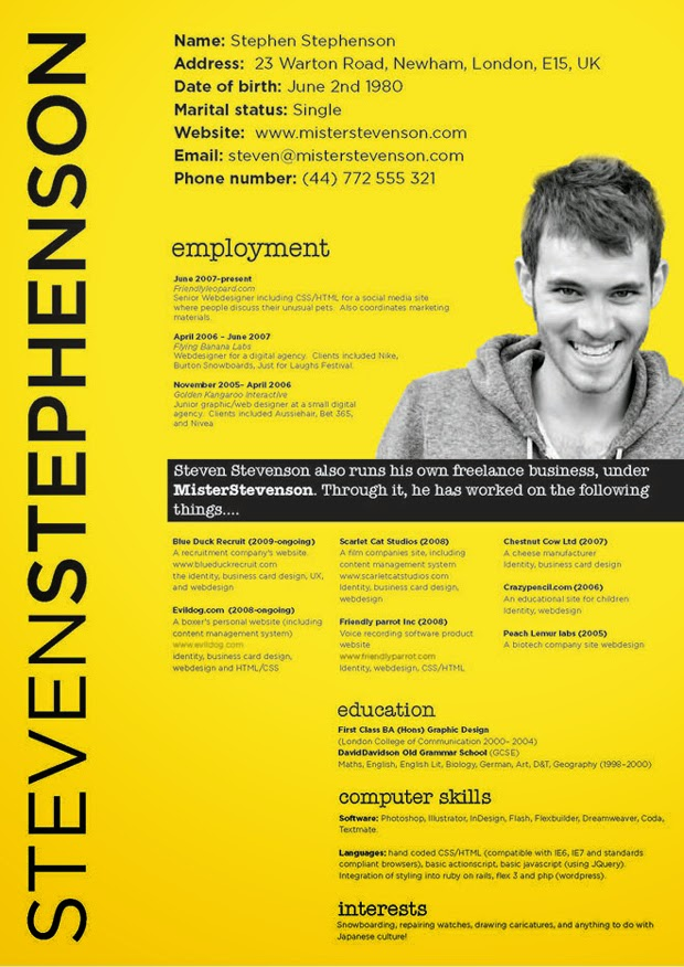 More Awesome Resume Designs For Designers  Resume For Designers