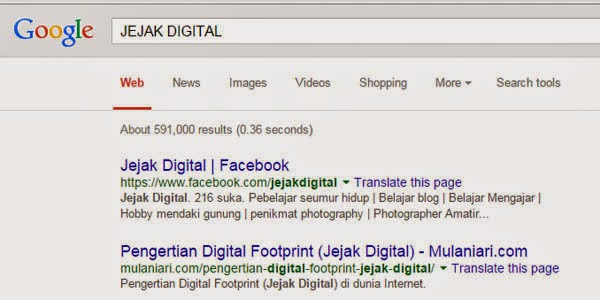 jejak digital google search