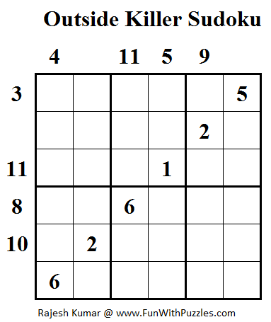 graphic regarding 6x6 Sudoku Printable named Outside the house Killer Sudoku (Everyday Sudoku League #95) (Mini Sudoku
