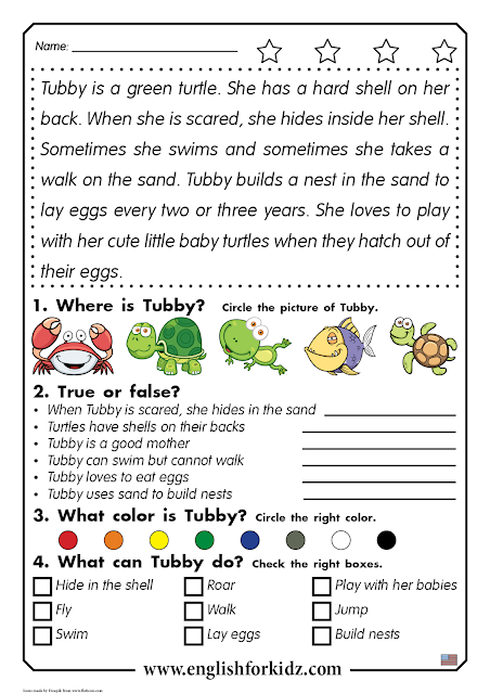 Reading comprehension worksheet for grade 1