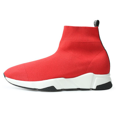 Shoes For Increasing Height Red High Top Knit Sock Sneakers Mens Taller Shoes 6 CM /2.36 Inches