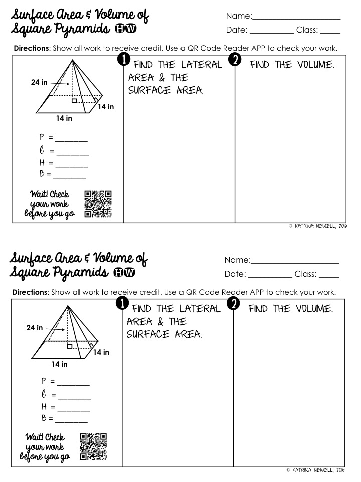 Surface Area And Volume Of Pyramids Unit Mrs Newells Math