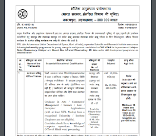 Physical Research Laboratory (PRL) Office Trainee Previous Year Question Papers