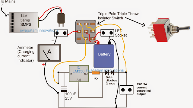 LM338 for Charging Battery and LED Control