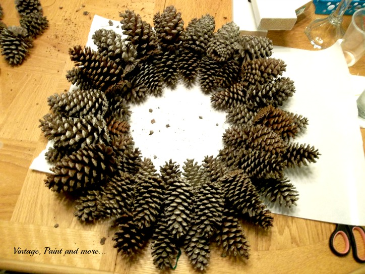 Vintage, Paint and more... pine cone wreath made on a budget