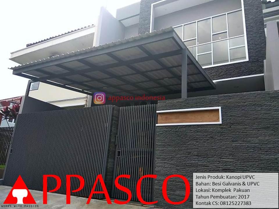 Kanopi Minimalis UPVC Galvanis di Pakuan Bogor