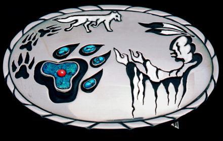 Belt buckle ontworpen door trouwringen smid Zhaawano Giizhik aka Tammo Galtjo Geertsema