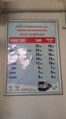 Adana Mersin arası tren fiyatları