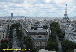 Torre Eiffel y de Montparnase desde el Arco de Triunfo