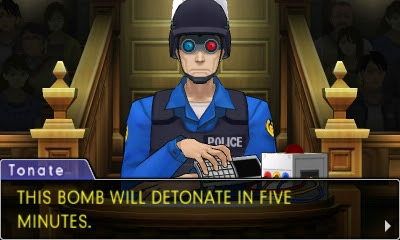 Phoenix Wright Ace Attorney Dual Destinies Ted Tonate this bomb will detonate in five minutes