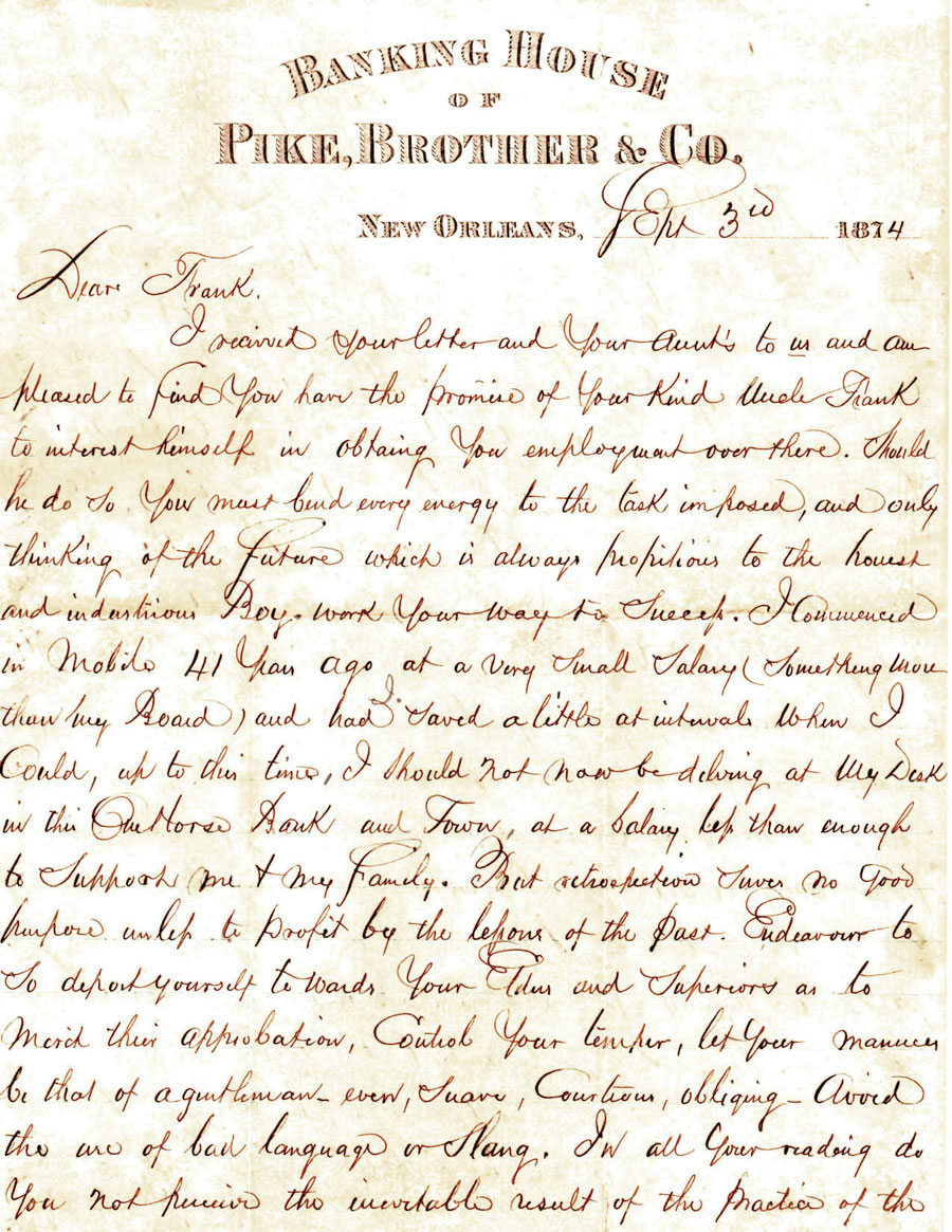 Belle s Letters 1874 Letter from B F Tisdale to his son Frank