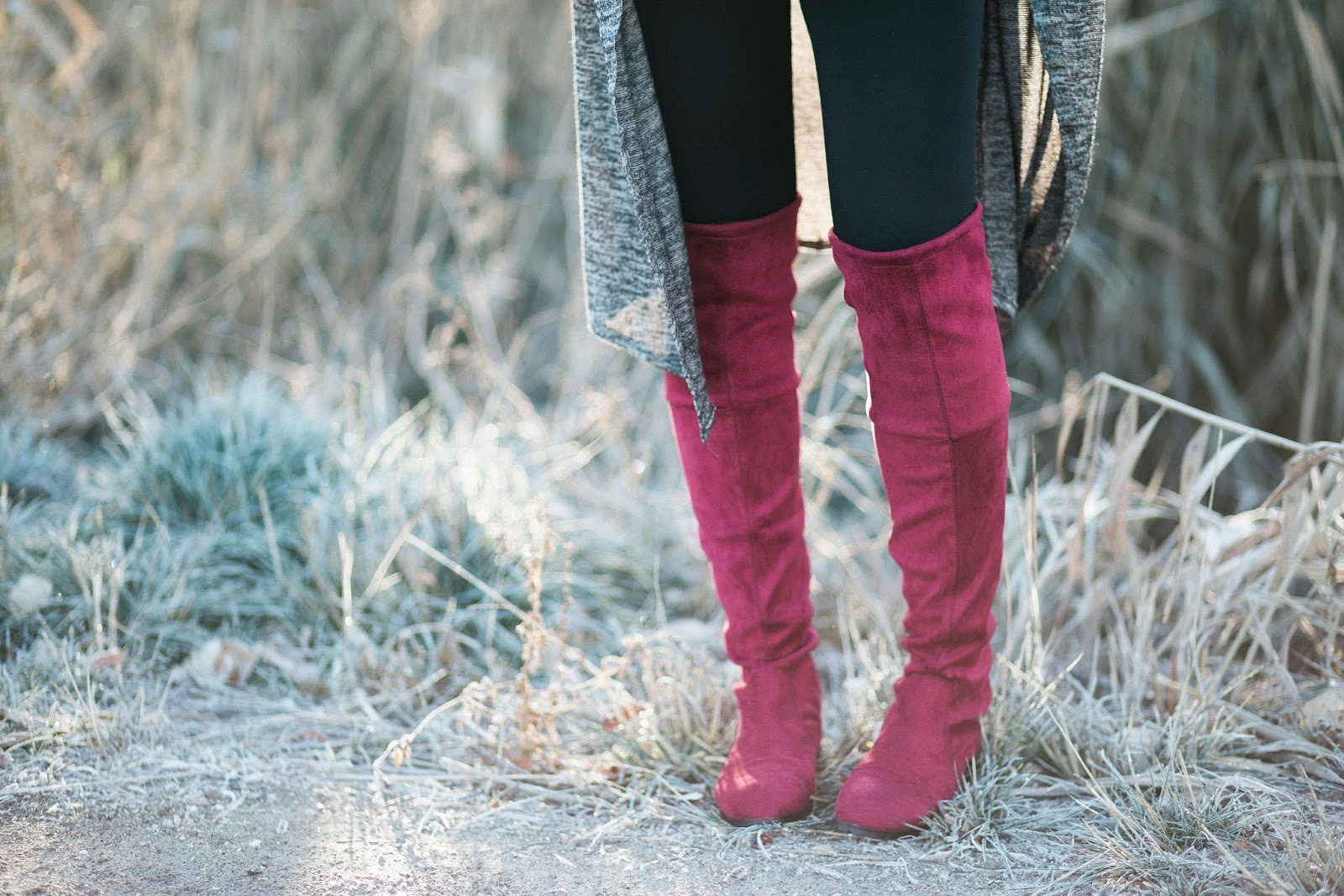 Knee High Boots, Maroon Boots, Choies