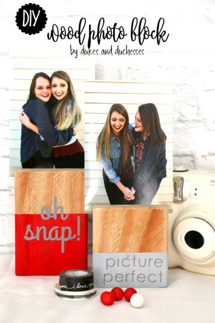 wood block photo display diy