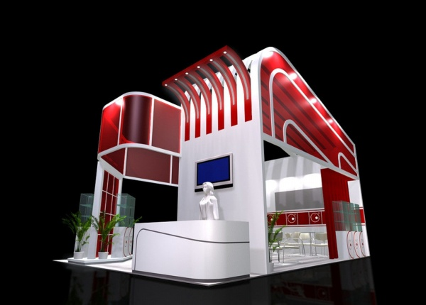 3D exhibition hall design model free 3Ds Max