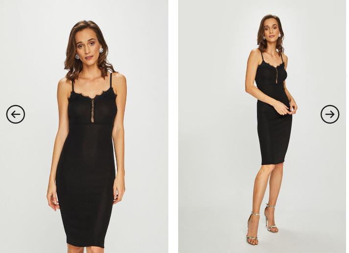 Rochie de ocazii foarte ieftina si frumoasa neagra midi fara maneci sexy