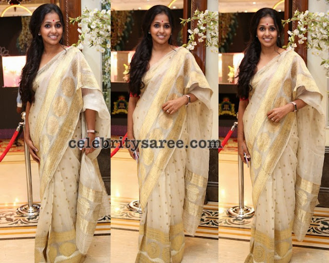 Singer Smitha Off White Saree