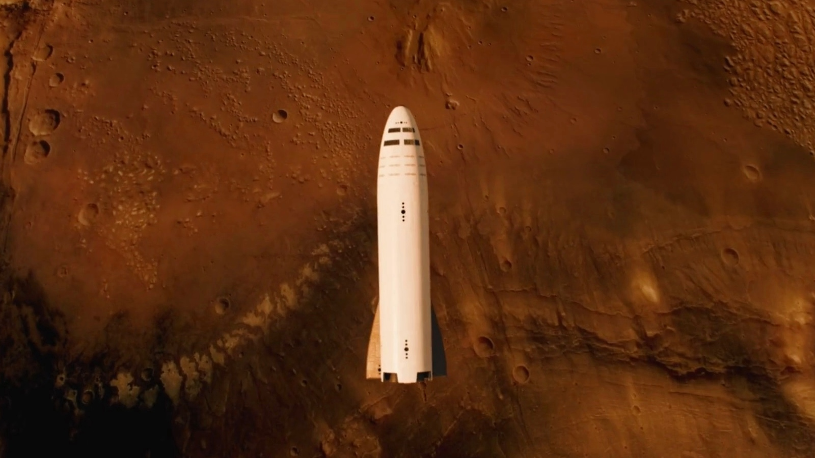 SpaceX BFR spaceship (BFS) above Mars