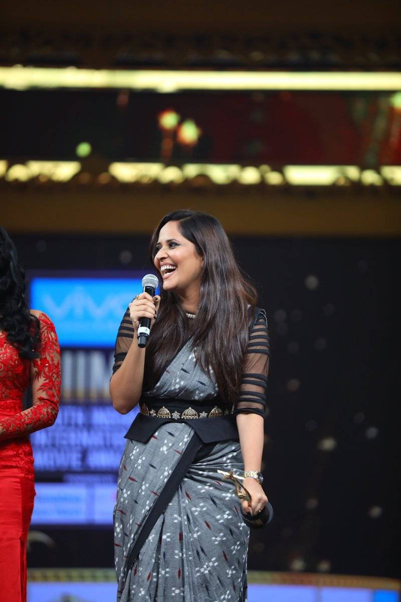 TV Anchor Anasuya Photos At SIIMA Awards In Black Saree