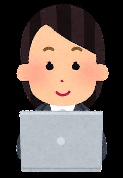 パソコンを使う会社員のイラスト(女性・笑顔)
