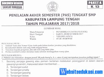 Naskah Soal PAS/ UAS PJOK Kelas 8 K13 Tahun 2018/2019