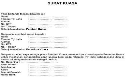 Contoh Surat Kuasa Pencairan Dana Bantuan PIP SD SMP SMA SMK Terbaru