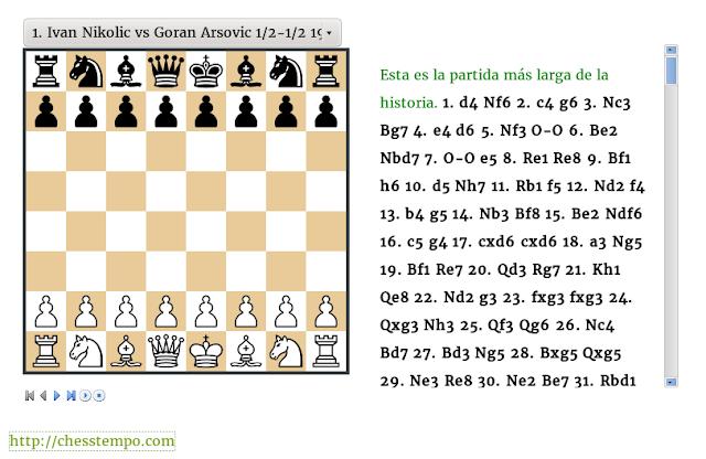 Ejemplo del visor de Chess Tempo