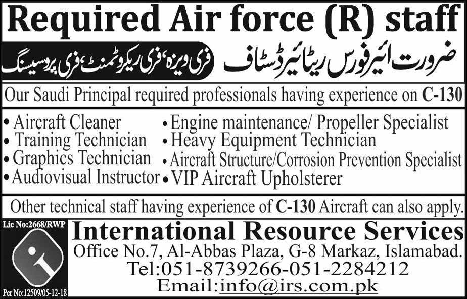 Air-force Retired Jobs in Saudi Arabia Dec 2018 newpakjobs.com
