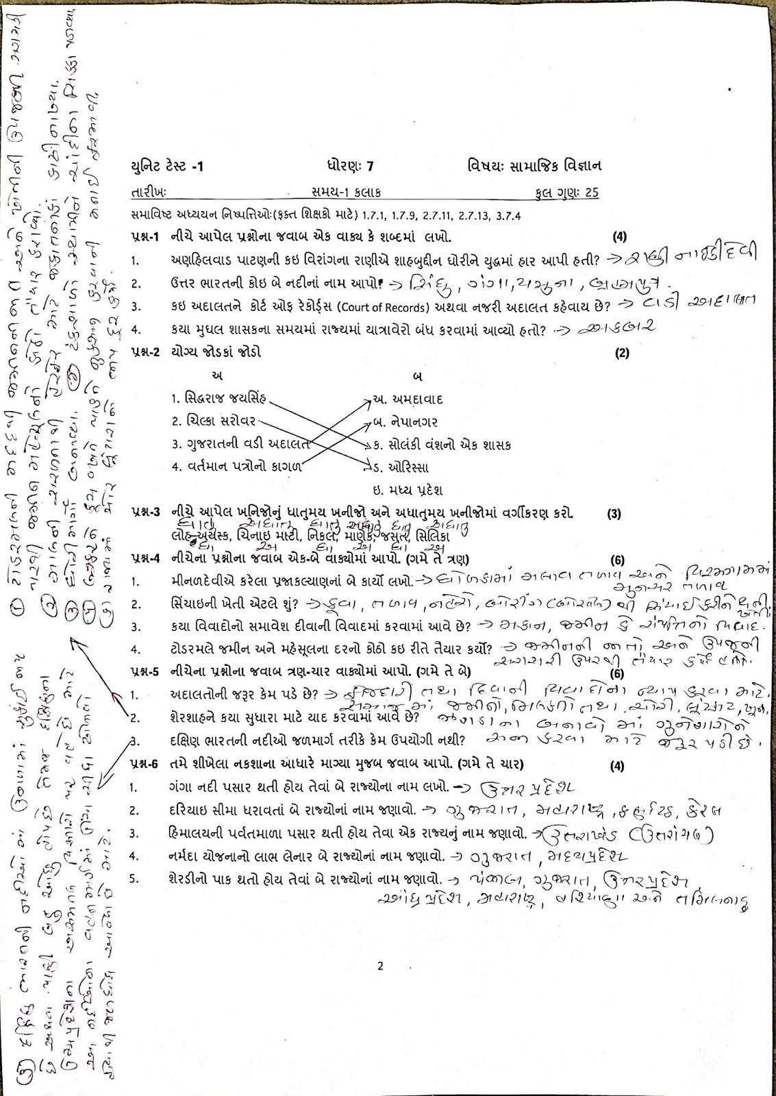 NILESH JADAV: STD- 6 TO 8 SOCIAL SCIENCE SUBJECT UNIT TEST