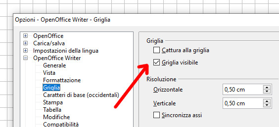 Selettore griglia visibile Word e Writer