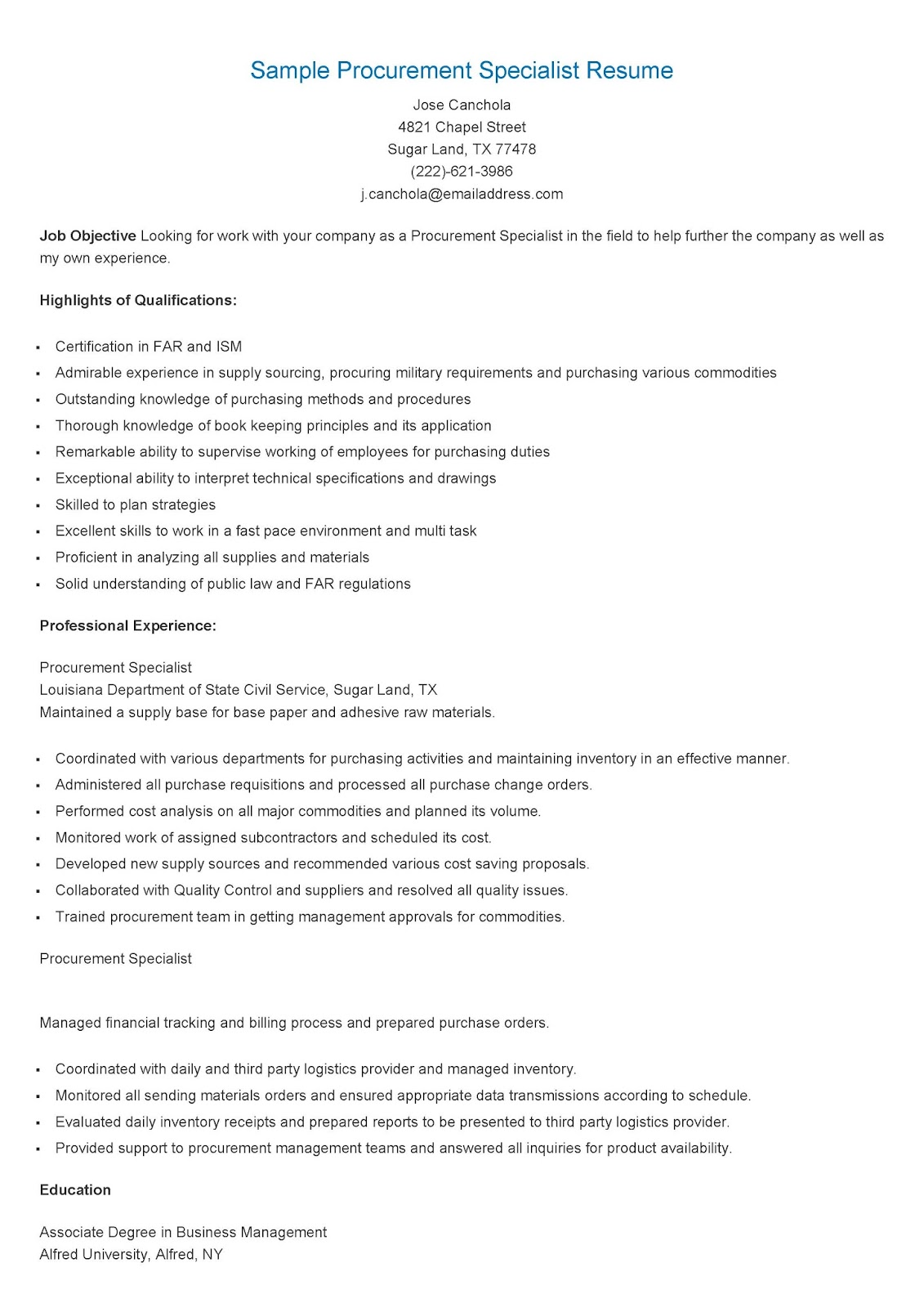 Sample Procurement Resume Resume Samples Sample Procurement Specialist Resume