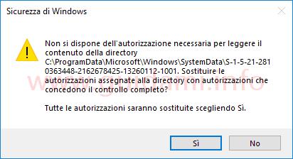Fiestra notifica Sicurezza di Windows sostituire autorizzazioni