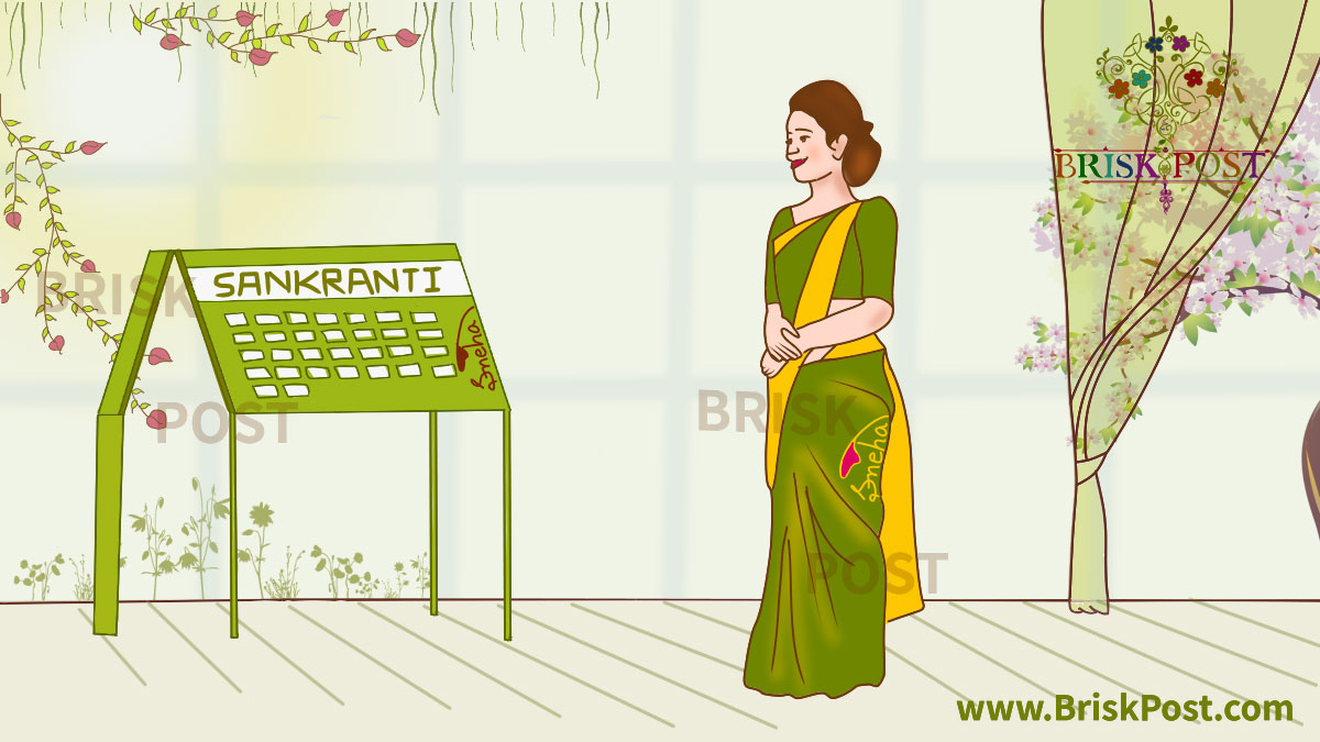 2019 Sankranti Dates and 12 Auspicious Panchang Muhurut of Sankraman Events (An Indian lady seeing the Sankranti calendar in a room filled with sun light)