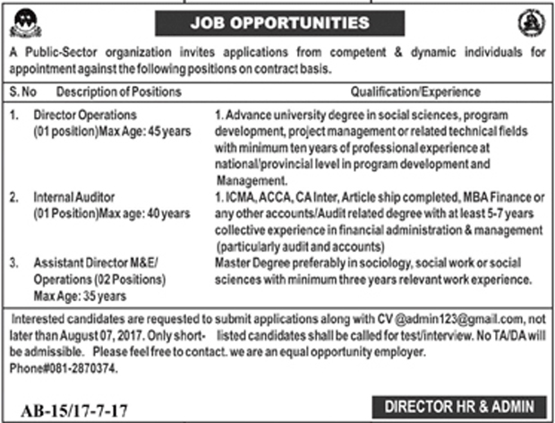 Director Operation, Internal Audit, Assistant Director Operation Jobs In Public Sector Organization 18 July 2017