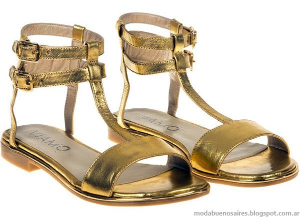 Sandalias doradas de fiesta bajas Viamo 2015. Moda 2015.