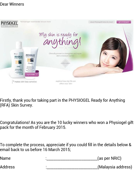 Physiogel Hypoallergenic