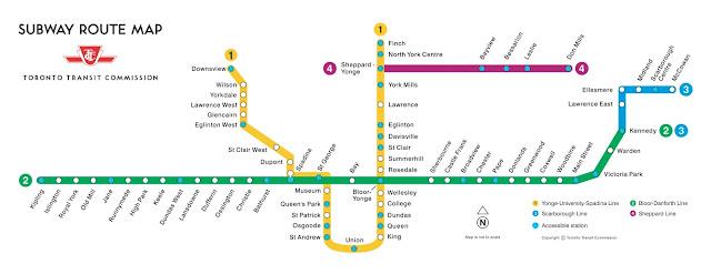 TTC Subway route map, circa 2014