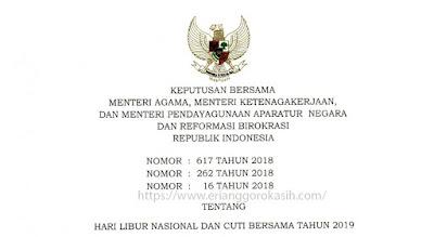SKB 3 Menteri tentang Hari Libur Nasional dan Cuti Bersama Tahun 2019